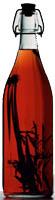 Weiße Glasflasche gefüllt mit rot-transparenter Flüssigkeit und einer Art Gewürzzweig